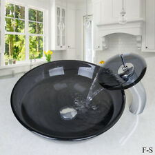 Grey Round Tempered Glass Bathroom Basin Vessel Sink Bowl Waterfall Faucet Set