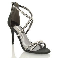 Womens Stiletto High Heel Diamante Strappy Ladies Party Bridal Sandals Shoes