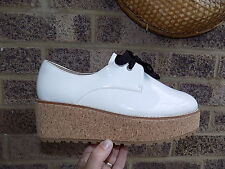 White patent Shelly's London cork flatform shoes size 7