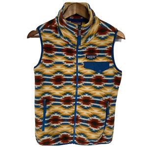 Women's Patagonia Synchilla Snap T Fleece Vest Zip Southwestern Tribal Aztec XS