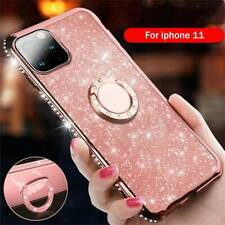 For iPhone 11 Pro Luxury Bling Diamond Ring Holder Stand Glitter TPU Case Cover