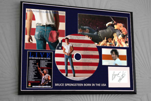 """BRUCE SPRINGSTEEN BORN IN THE USA  FRAMED CD SIGNED  TRIBUTE 12""""x8"""""""