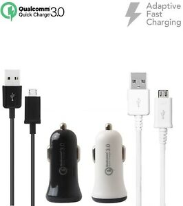 Adaptive Fast Rapid QC 3.0 Car Charger w/Micro USB Cable for Sony Sonim ZTE