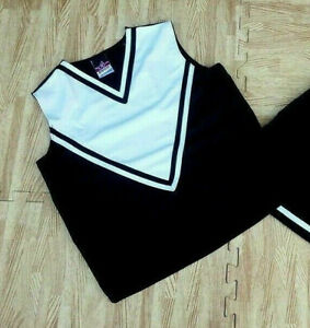 """REAL ADULT S/M BLACK WHITE CHEERLEADER UNIFORM SHELL TOP 32-34"""" Goth Cosplay NEW"""