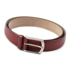 New $575 BRIONI Burgundy Red Pebbled Leather Belt 38 W (Eu 95) Silver Buckle