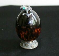 Vintage Antique Glass Egg Sterling Silver Frog and Base Signed Collector Dream!