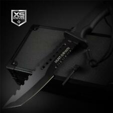 """Tactical BLACK Combat TANTO Survival FIRE STARTER Hunting Fixed Blade Knife 12"""""""