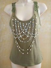 Funhouse vintage sage lace embellished necklace Racer back Tank Women's Large