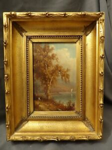 George W. Waters (1832-1912) Hudson River Valley Landscape Boat Oil Painting NY