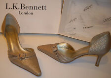 LK BENNETT Gold Sparkling Pointed Toe Mid Heel Shoes Size UK 3 EU 36 US 5.5