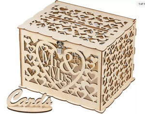 GLM Wedding Card Box with Mr. and Mrs. Rustic Design, Card Box for Wedding