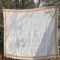 Vintage Woven tablecloth orange border embroidered one corner