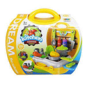 Dream The Suitcase Kitchen Cooking Play Set for KIDS Boy & Girls Toy Set