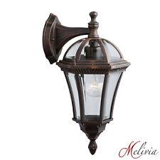Rustikal Wandlampe Wandleuchte Braun Glas Klar 1x60W Aussenleuchte Laterne Lampe