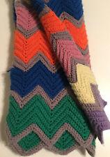 Vintage Knitted Handmade Multicolor Afghan Blanket Throw Crochet