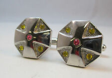 BEAUTIFUL SILVER TONE CROSS CUFFLINKS W/ PINK & GOLDEN RHINESTONES **