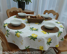140cm Round Wipe Clean PVC Tablecloth - Lemons
