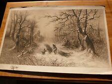 """Original c1880 Richard Dudensing Large Etching COTTAGE WOOD GATHERERS 31""""x 21"""""""