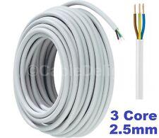 WHITE 3 Core Flexible Flex Mains Wire Cable 1m - 100m 2.5mm (3183Y) Per Metre