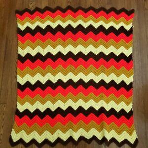 Vintage Afghan Blanket Chevron Zig Zag Throw Quilt Handmade 80s Retro 47x38