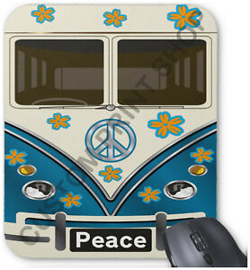 VW HIPPY CAMPER VAN / BUS personalised MOUSEMAT mouse mat pad - gift for mac pc