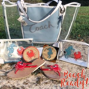 Coach 16594 Large Clear Transparent Beach Tote Crab Seahorse Wristlet Set