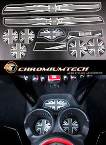 MK3 MINI Cooper F56 F57 Black Union Jack Cup Holder Coaster + Interior Mat 9pcs