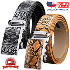 Mens Genuine Leather Snake Skin Embossed Automatic Buckle Ratchet Belt