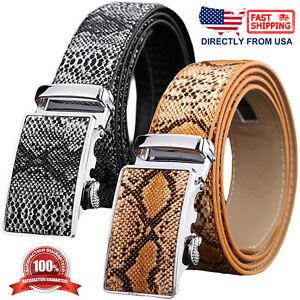 Men's Snake Skin Embossed Leather Automatic Buckle Ratchet Belt
