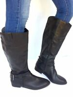 Women's Fashion Flat Low Heel Knee High Slouch Buckle Riding Boots Shoes-Black