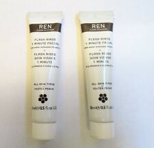 REN Flash Rinse 1 Minute Facial 2 x 15ml Travel Size Tubes (30ml in Total) NEW