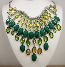 Lucky Brand Green & Yellow Stone Silver Tone Bib Collar Necklace MSRP $85