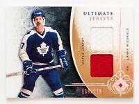 LANNY MCDONALD GAME USED JERSEY CARD UPPER DECK ULTIMATE JERSEYS  /100 LEAFS WOW