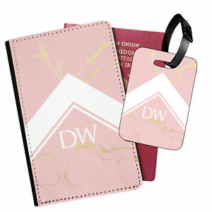 Personalised Marble PU Leather Passport Holder Travel Wallet & Luggage Tag - 78