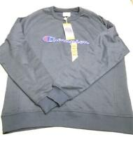Champion Men's Fleece Crewneck Long Sleeve Sweatshirt, Navy Blue, Size XXL