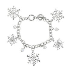 Lux Accessories Silver Tone Faux Pearl Crystal Bead Snowflake Charm Bracelet