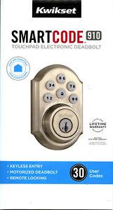 Kwikset 99100-046 SmartCode 910 Touchpad Electronic Deadbolt - Satin Nickel