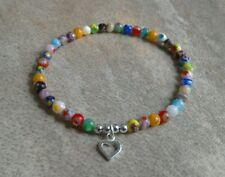 Murano Glass Millefiori Bead Bracelet / Anklet Sterling Silver Heart Multicolour