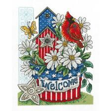 Counted Cross Stitch Kit PATRIOTIC WELCOME Made in USA! Red Bird Cardinal