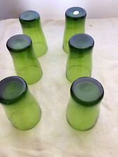 Vintage Retro Green Crystal, Polish Made, WaterLiqueur Glass, 6 Set