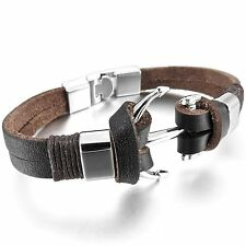 MENDINO Men's Alloy Leather Bracelet Strand Pirate Anchor Nautical Cord Bangle