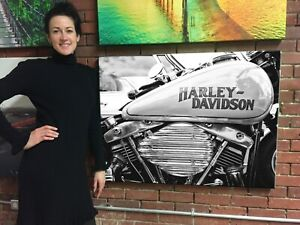 Gas Tank Harley Davidson Cotton Canvas Print Huge Ready to Hang Wall Art Decor