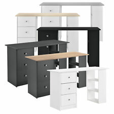 en.casa Schreibtisch 120x50x72cm Bürotisch mit Schubladen PC Tisch Regal Ablage