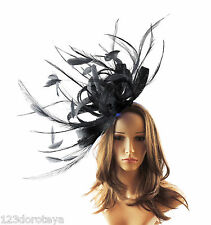 Large Black Fascinator Hat For Weddings/Ascot/Proms With Headband O1