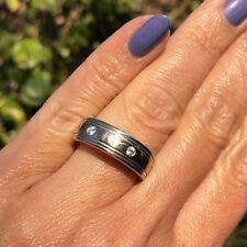 Novell 14K White Gold Diamond Mens or Womens Eternity Wedding Band Ring Size 9