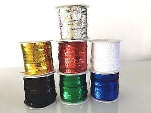 5M Metallic Strung Flat Sequin String 6mm Trim Lace Ribbon Craft Dance Costumes