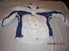 Preowned Women's Size 4 Couloir Fusion White Ski Jacket Parka- Purple Stripes