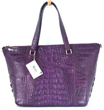100% GENUINE CROCODILE LEATHER HANDBAG BAG TOTE HUGE SHINY PURPLE RIVER NEW