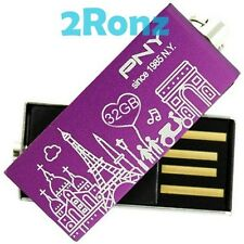 PNY 32GB 32G USB Flash Pen Drive Stick Paris City Attache Swivel Purple