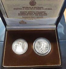 """1984  - L: 500 + L. 1.000 in Ag commemorativo """"Olimpiadi"""" Fondo specchio"""